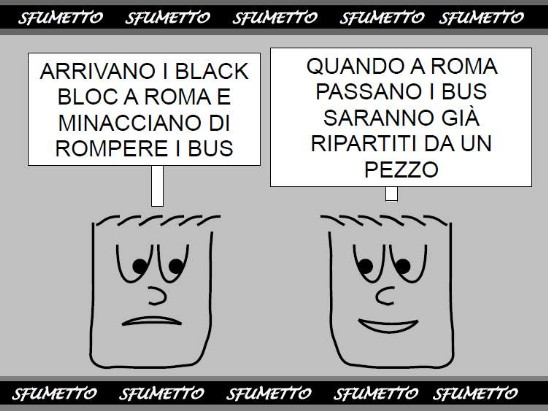 hooligans a Roma che rompono i bus
